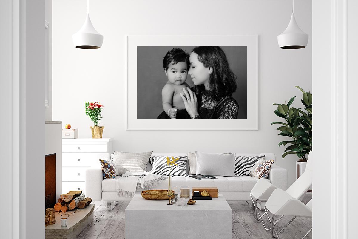 Black And White Framed Photo In Living Room