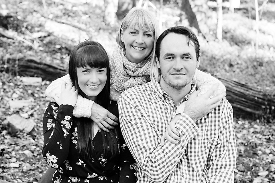 Black And White Portrait Of Adult Mother And Adult Children